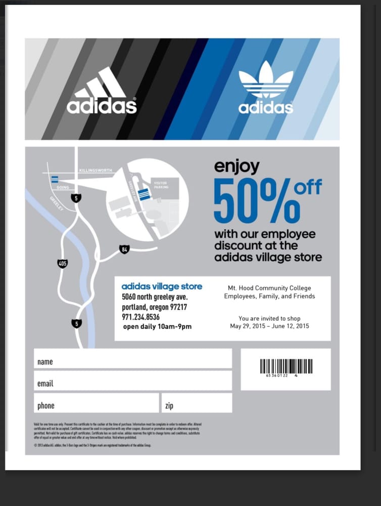 adidas employee store discount