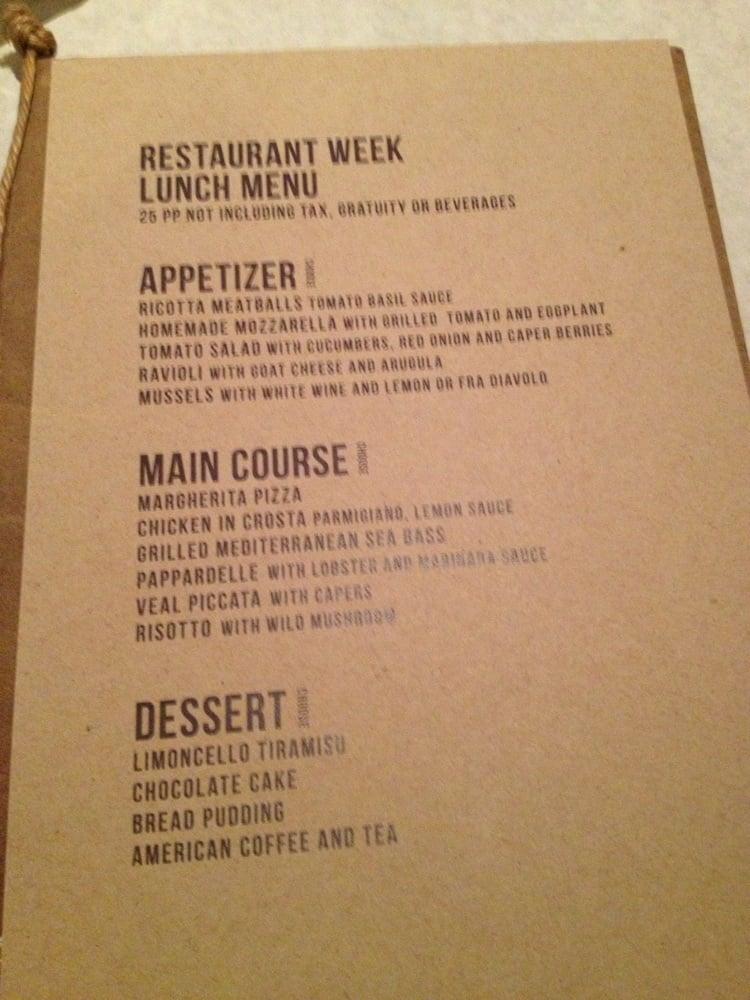 Il Mulino Restaurant Week Menu
