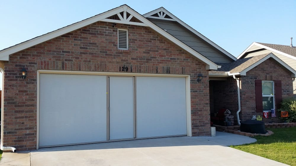 16x7 Lifestyle Garage Door Screen With Sandstone Color Frame And ...