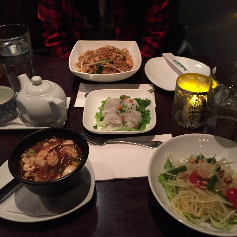 Tom Yum Soup, Papaya Salad, Chicken Peanut Dumplings And