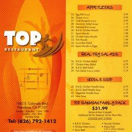 Photo Of Top Restaurant Pasadena Ca United States Menu March 2018
