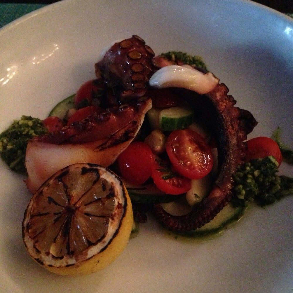 Grilled octopus with gnocchi and seasoned vegetables yelp for Dallas fish market