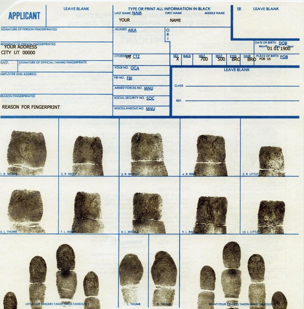 FD 258 Digital Ink Card Fingerprint For FBI And DOJ