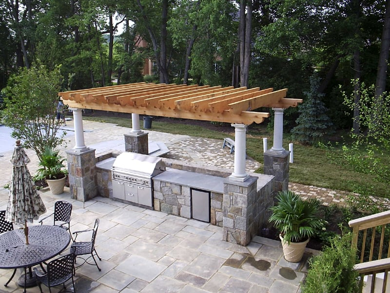 Hardscape Outdoor Kitchen Cedar Trellis Overhead