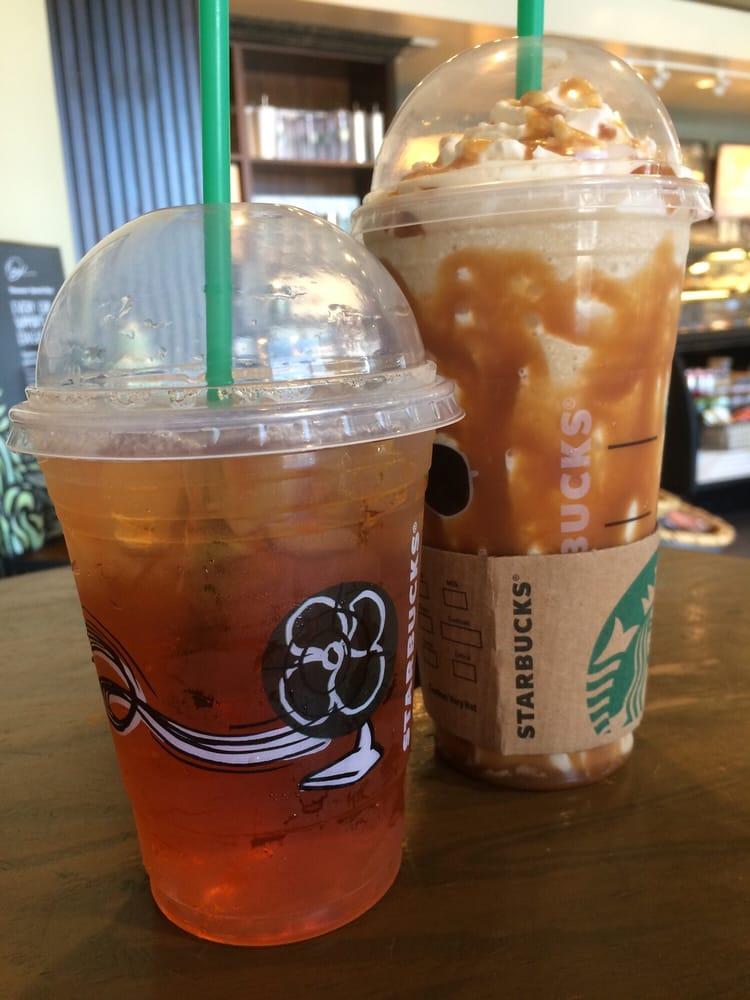 Grande iced black tea; venti caramel frappuccino, double ...