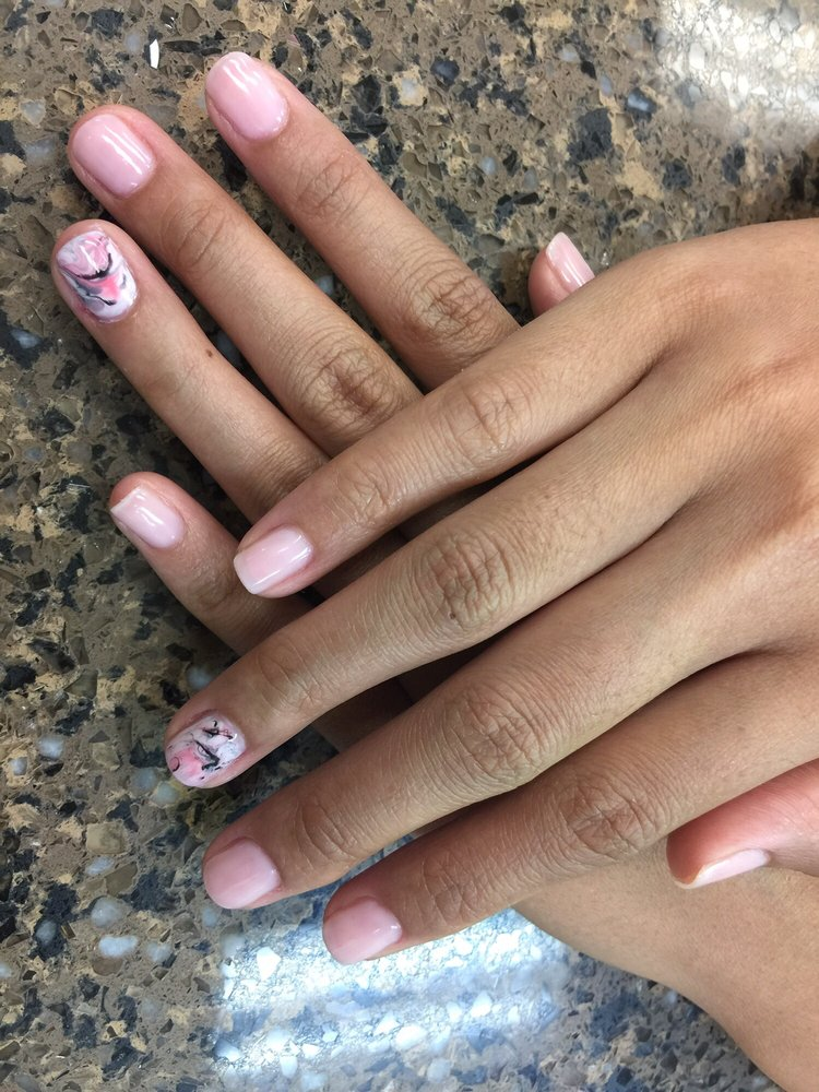 Photo of Ochre Nails - Los Angeles, CA, United States. GEL MANICURE: - GEL MANICURE: Marble Gel Nail Design. Nail Color: Bubble Bath By OPI