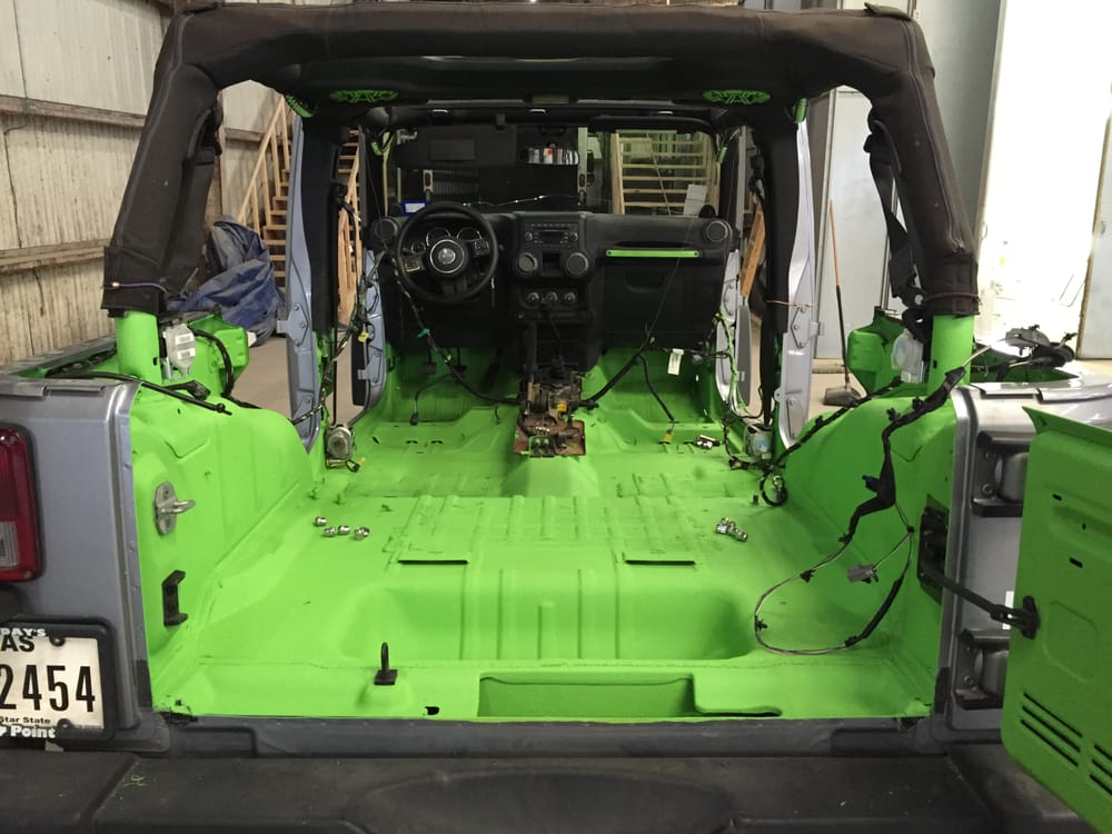 Custom Color Upol Raptor Bedliner Coating Sprayed Into This Jeep