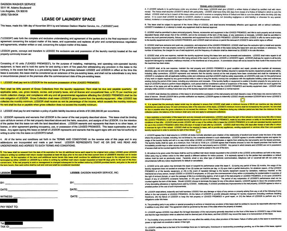 Lease agreement example highlighted so you know to ask a lawyer photo of dadson washer service los angeles ca united states lease agreement platinumwayz