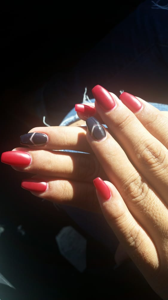 My sister\'s nails. Matte red, black nail with design coffin nails by ...