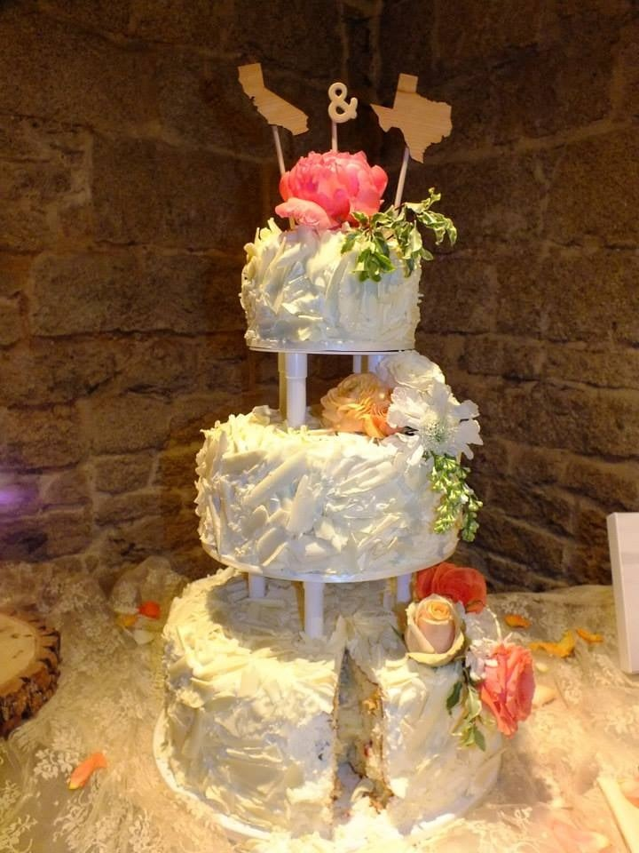 Wedding Cake From Vgs Covered In White Shaved Chocolate Yelp
