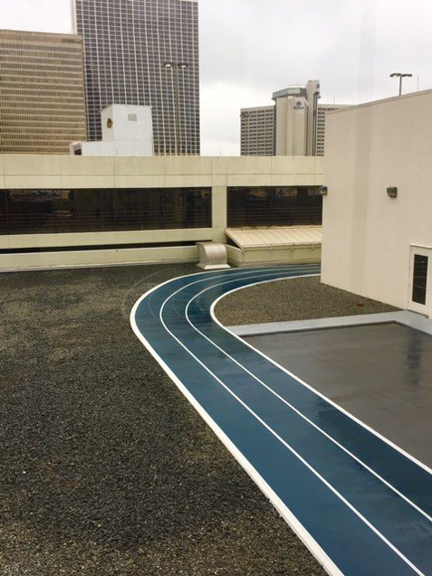 Our outdoor track circles the entire facility  9 laps around