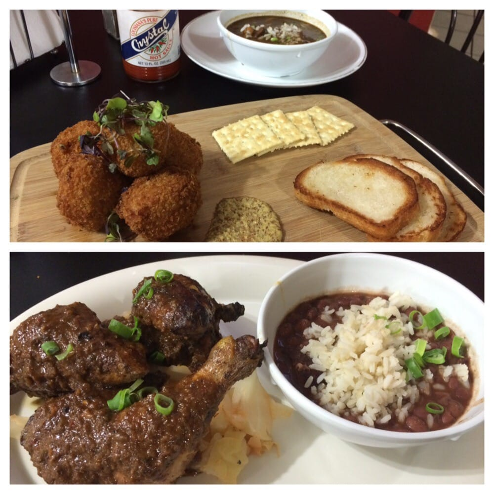 Boudin Gumbo Jerk Chicken W Red Beans And Rice Yelp