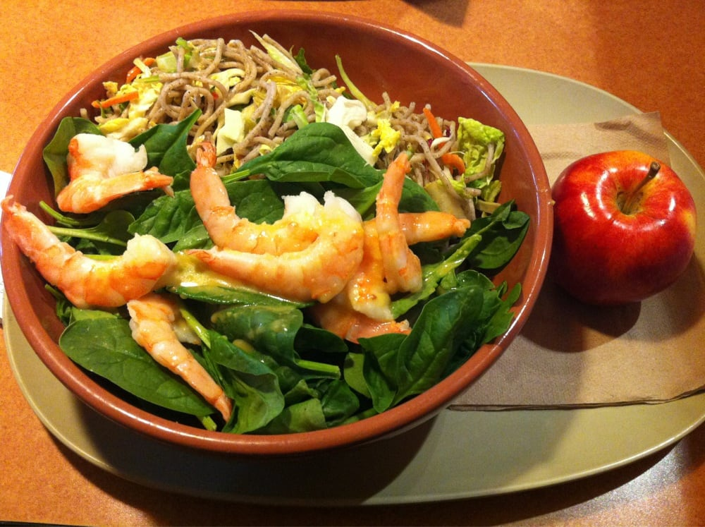 Chilled shrimp & soba salad- a fresh new salad with spinach, cabbage ...