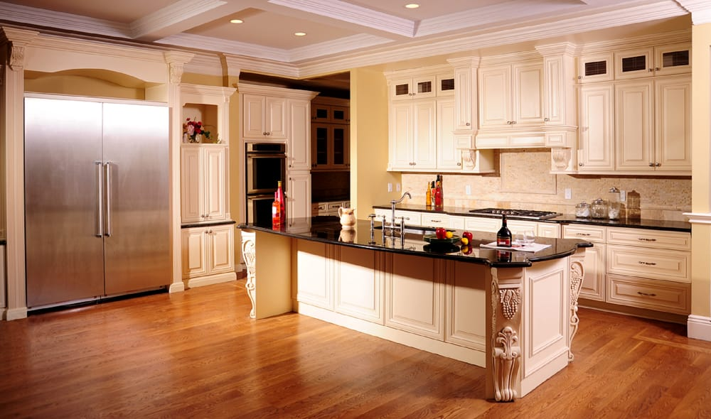 photo of renovate max   san jose ca united states  antique cream kitchen antique cream kitchen cabinets with absolute black countertops   yelp  rh   yelp com