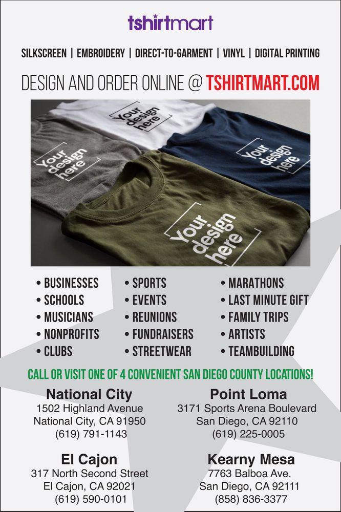 T-Shirt Mart: 1502 Highland Ave, National City, CA