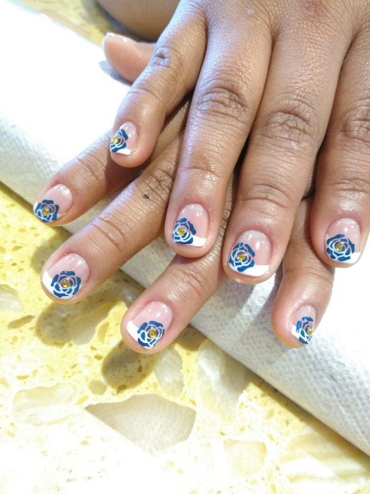 French Nails With Rose Design Yelp