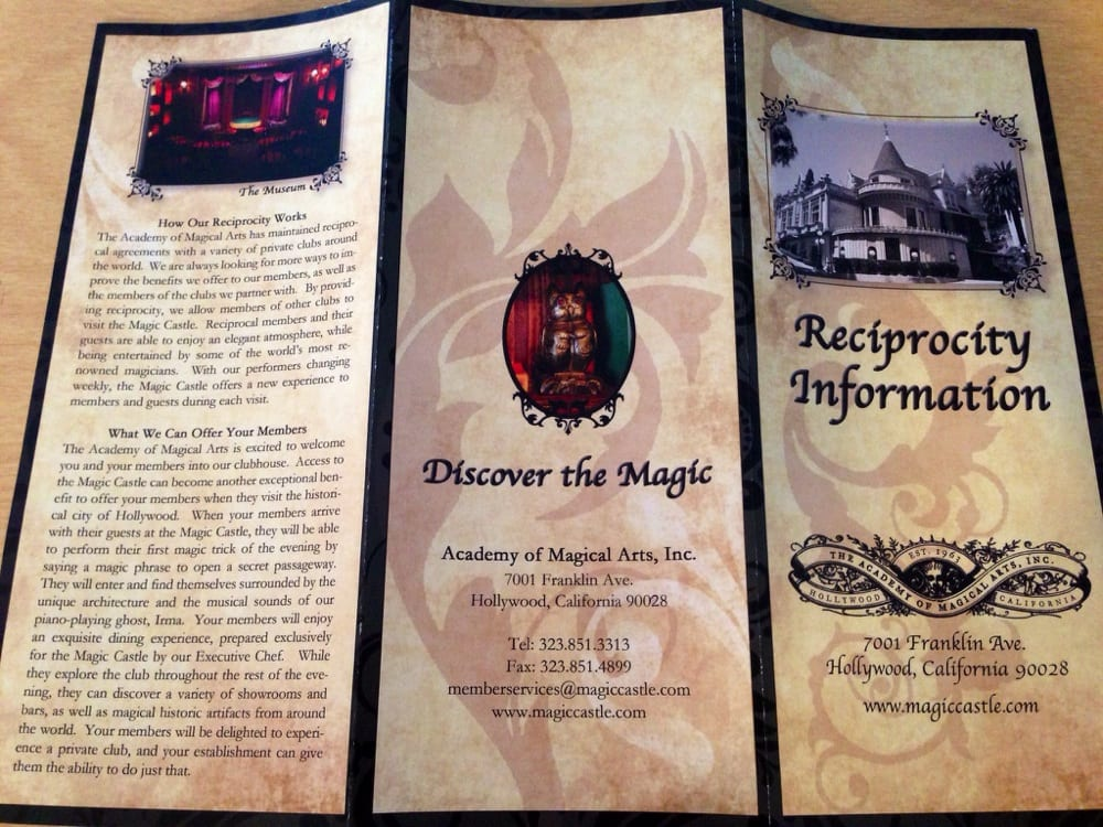 The Magic Castle Has Reciprocal Agreements With A Variety Of Private