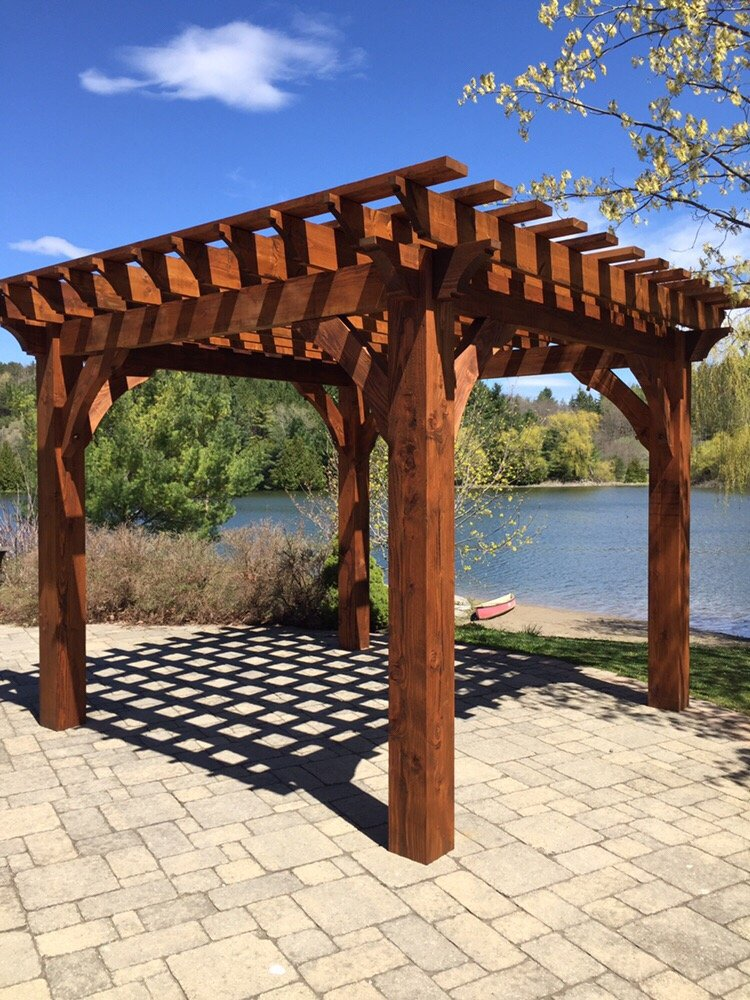 9 photos for Norweh Outdoor Structures & Design - 10x10 Graceful Anna 8 Pergola In Douglas Fir, Chestnut Stain (Cutek