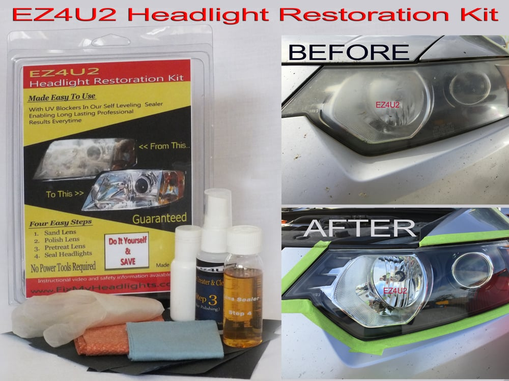 Acura headlights restored with EZ4U2 headlight restoration