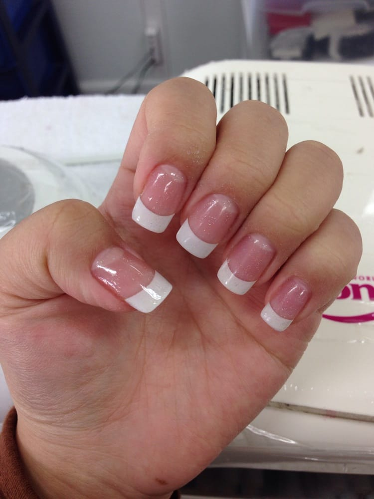 White Tips With Pink Powder And Gel Glitter Coat Thank Yoy Kim Yelp
