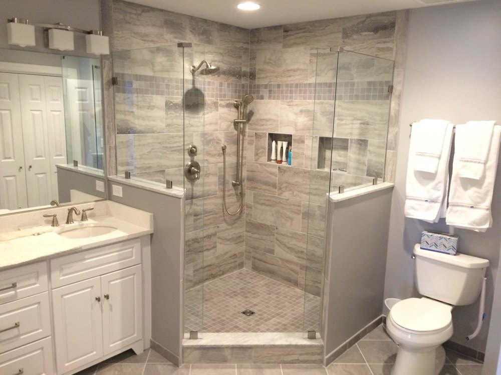 Custom Tile Shower With 3/8 Glass Enclosure And Custom