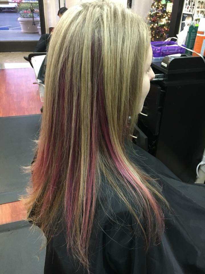 Blonde Highlights With Pink Peekaboo Highlights Yelp