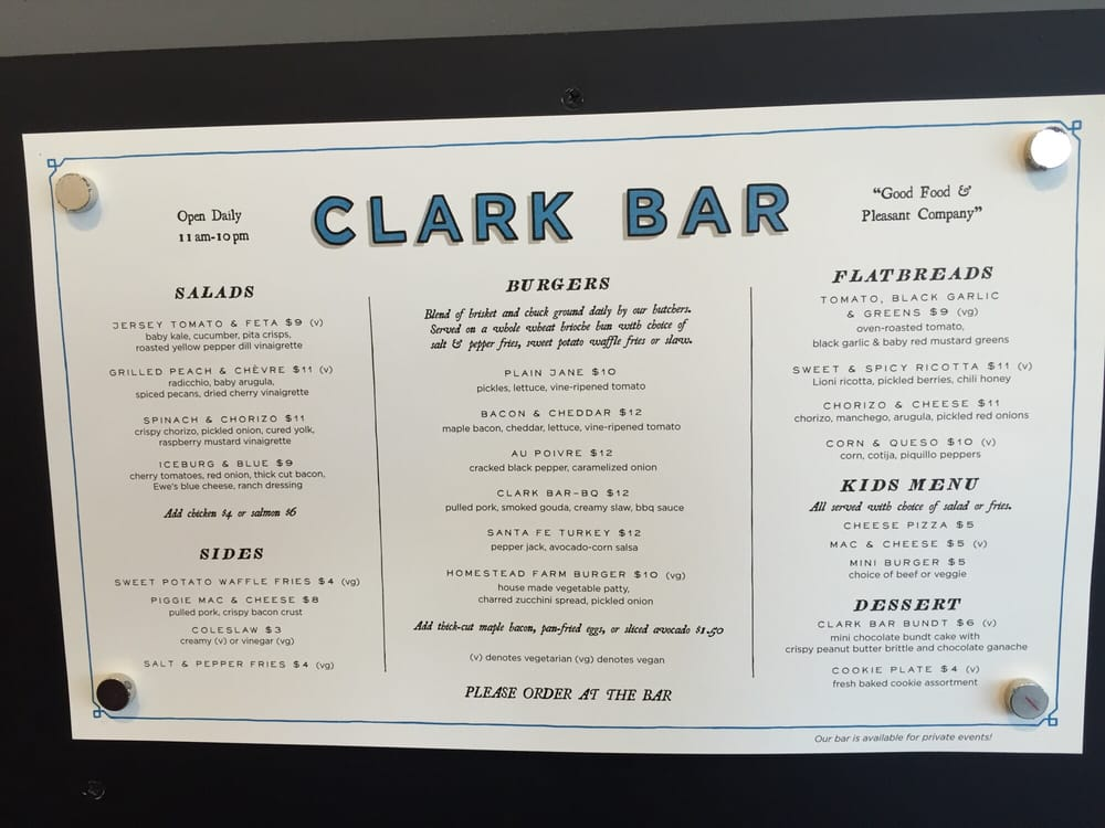 The clark bar menu attached to whole foods yelp for Bar food 46 levallois