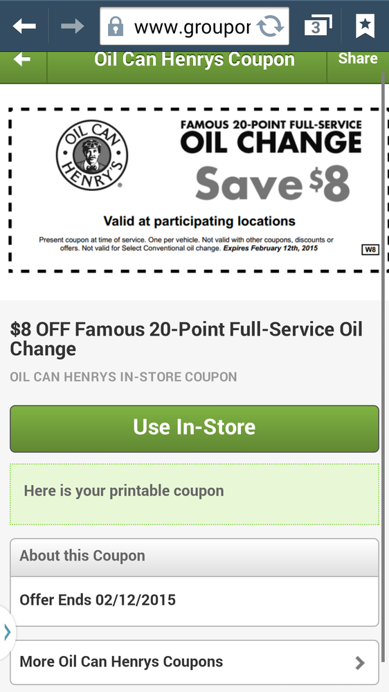 photo about Oil Can Henry Coupons Printable titled Photographs for Oil Can Henrys - Yelp