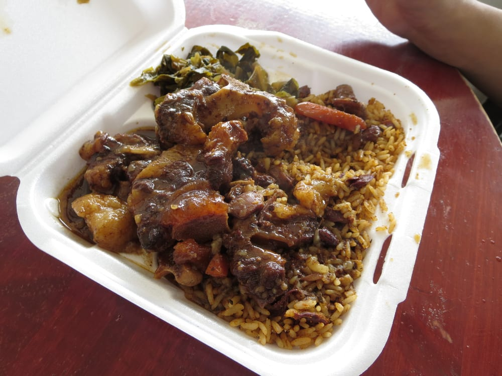 small order of oxtail with rice and peas and greens  yelp