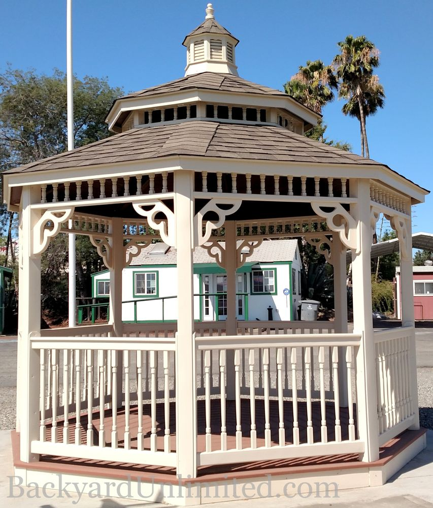 12 39 colonial style ivory vinyl octagon gazebo with for Victorian cupola