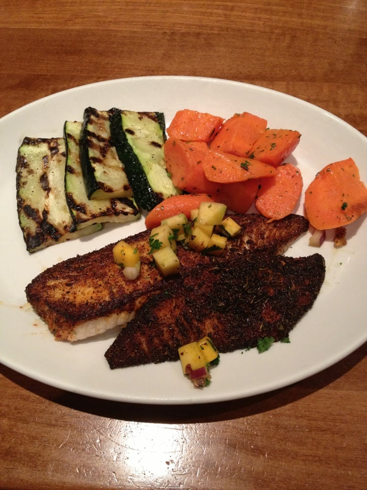 Blackened tilapia with glazed carrots and grilled zucchini for King fish house huntington beach ca