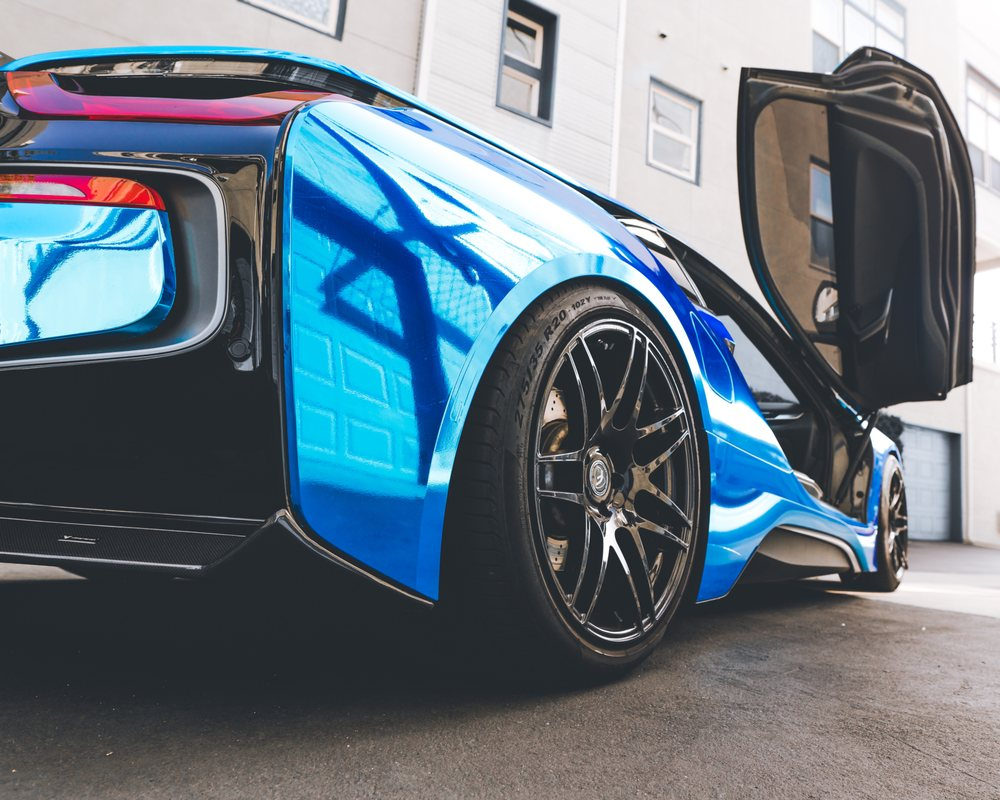 Bmw I8 Chrome Blue Available For Rental With Forgestar F14 Wheels