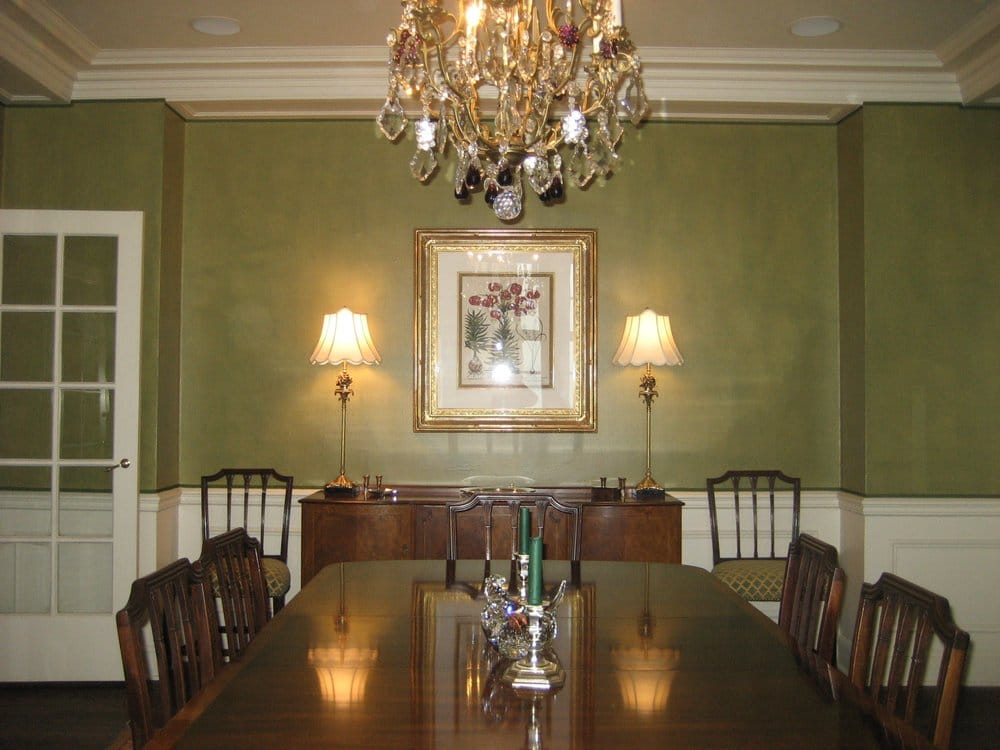 Textured olive green adds drama to a classic dining room for Green dining room