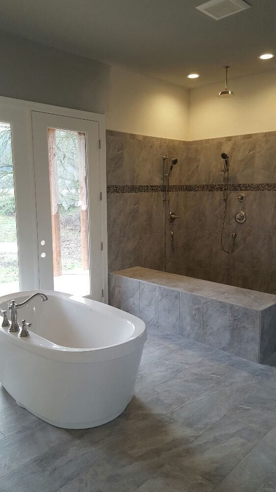 MAAX freestanding tub, dual shower head with rain head. - Yelp