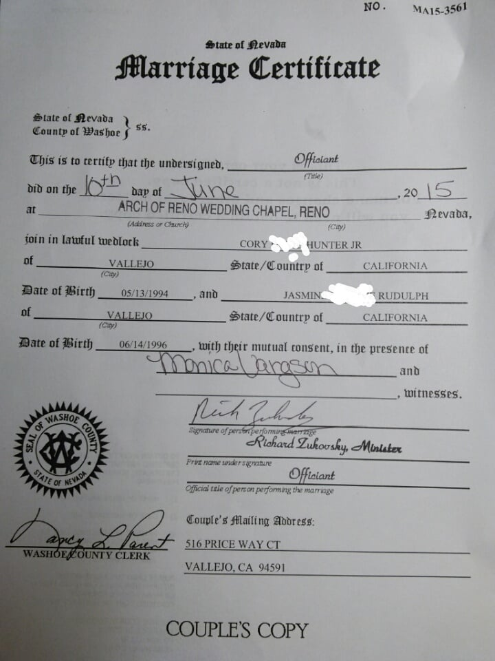 the non cerified marriage certificate that you still have to obtain ...