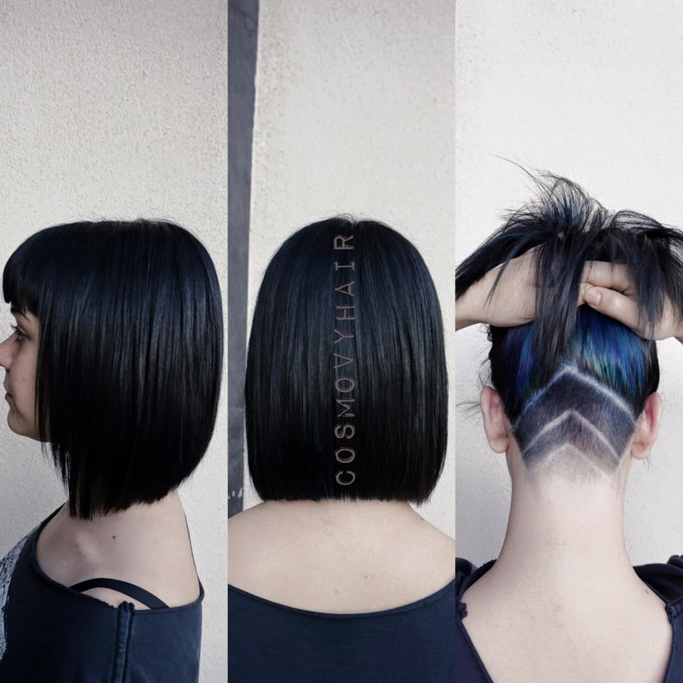 Versatile Hairstyle Bob Haircut Black Hair Color With Hidden Color