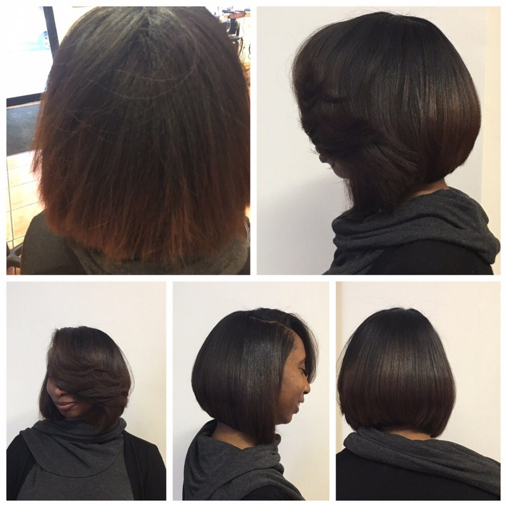 Relaxed hair cut and style always hydration yelp for Honey beauty salon