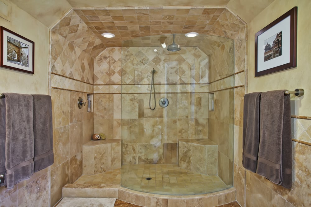 Huge master shower with faucets that spray from all directions. - Yelp