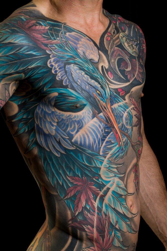Blue heron tattoo by Aaron Della Vedova. Guru Tattoo | San Diego, CA ...