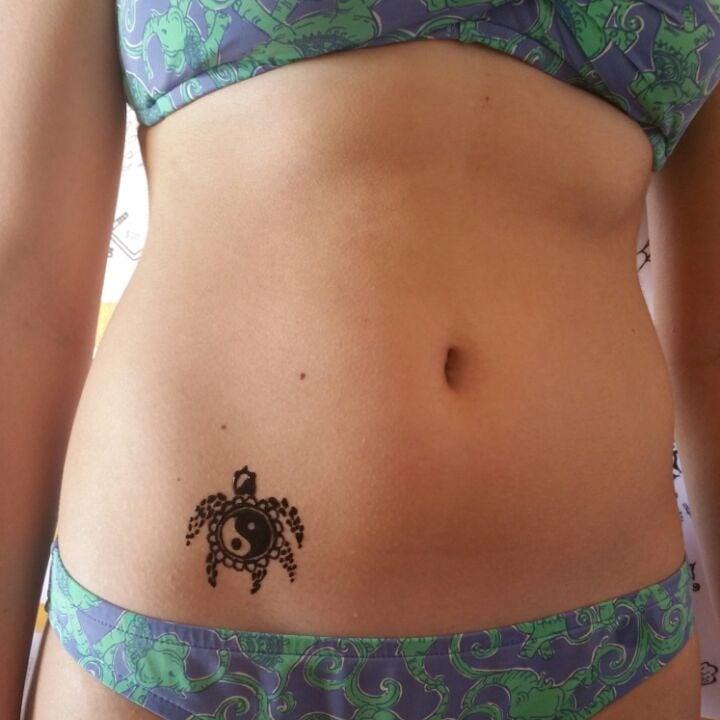 Turtle Henna Tattoo: Hawaian Sea Turtle W Yin Yang