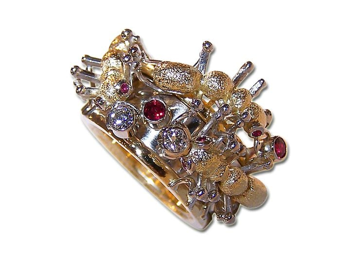 whimsical and one of a kind ring by tom castor with busy