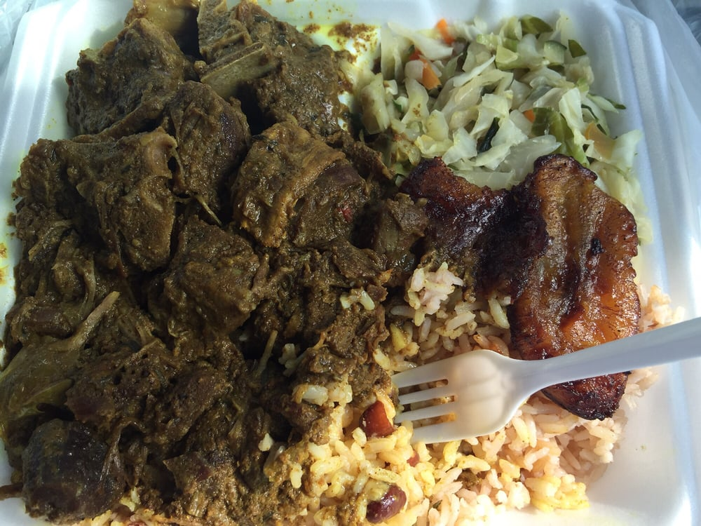 curry goat with peas n rice cabbages and plantains  yelp