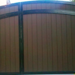 Arched Top Driveway Gate Built In Pedestrian Gate Yelp