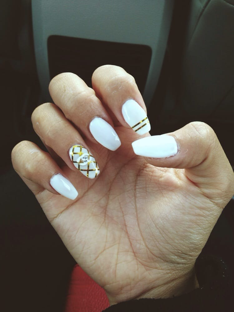 Inspired by Chanel\'s quilted bags. Coffin shaped nails. Gold line ...