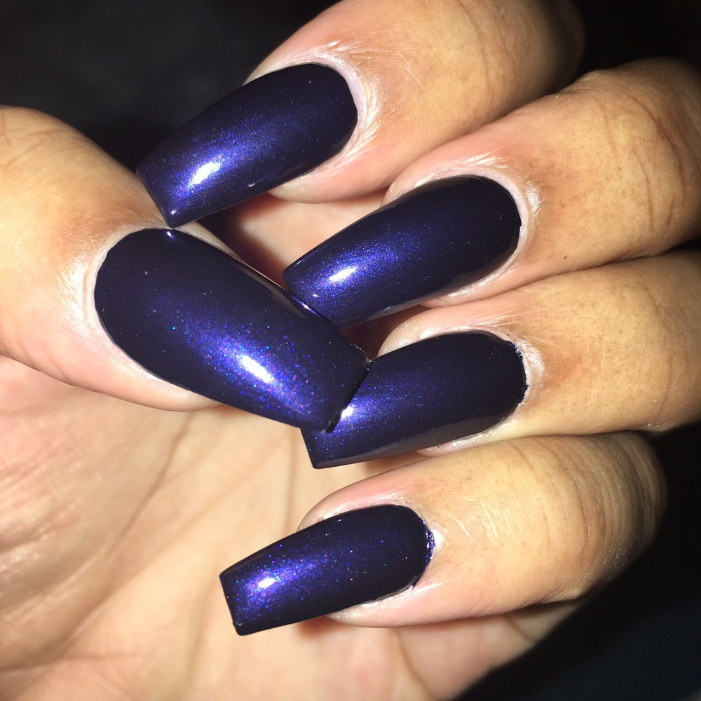 Coffin style nails in Russian Navy, love my color and great service ...