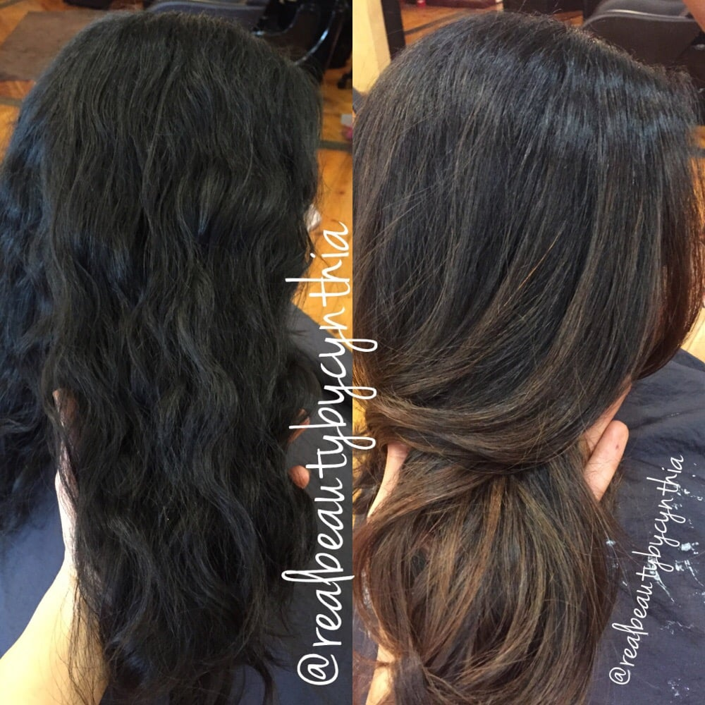 Before And After Dark Brown Black Virgin Hair To Caramel