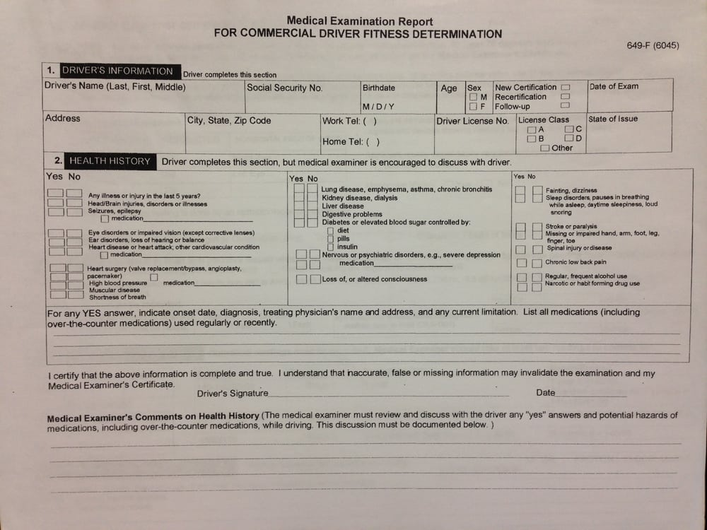 DOT Physical/Medical Form - Yelp