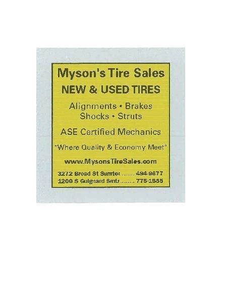 Mysons Tire Sales: 3272 Broad St, Sumter, SC