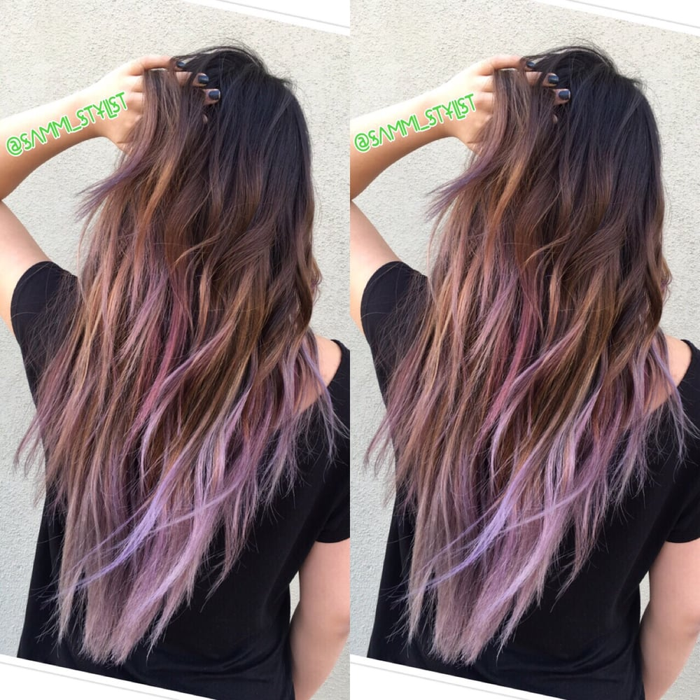 Balayage Ombre Of Ash Brown With Lilac Tips Hair By Sammi
