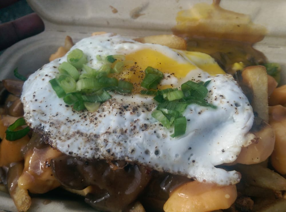 ... San Francisco, CA, United States. Wild Mushroom Gravy Poutine with Egg